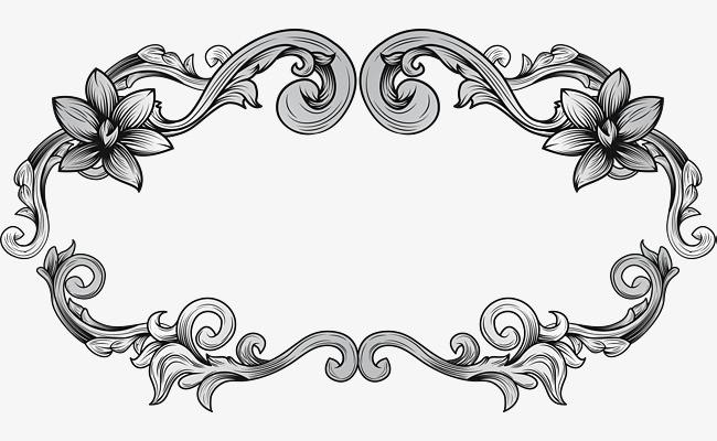 欧式手绘花藤边框