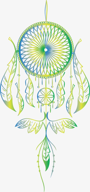 矢量手绘蓝绿色捕梦网png素材-90设计