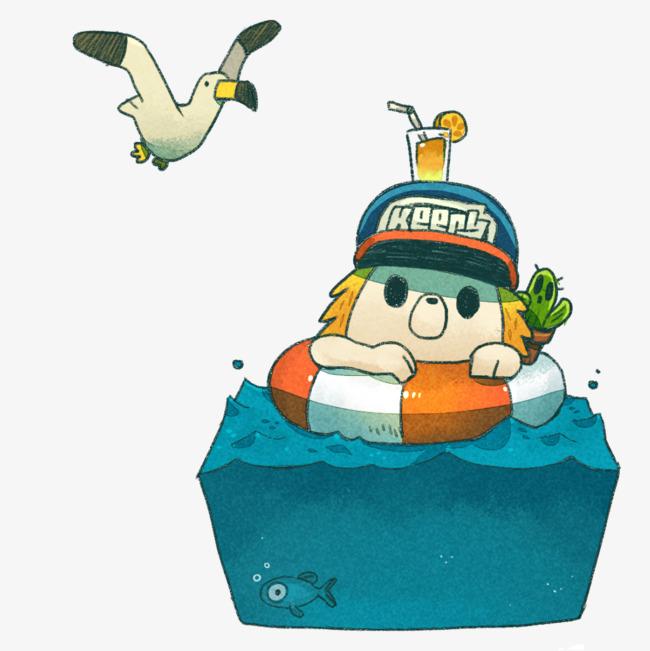 手绘婴儿游泳馆游泳
