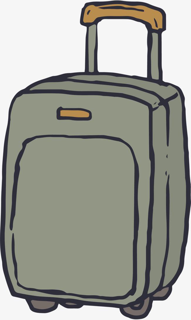 灰色手绘行李箱png素材-90设计