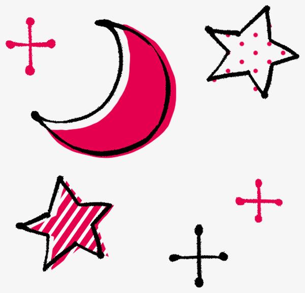 手绘月亮星星