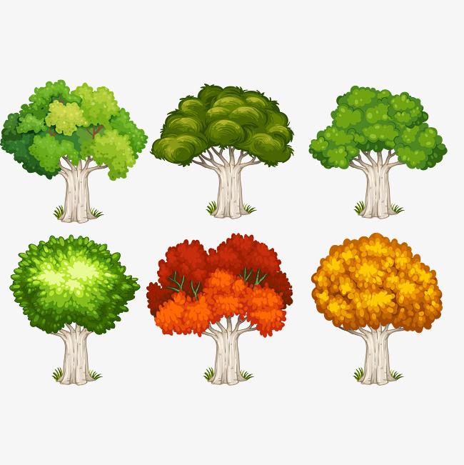 手绘矢量图小树