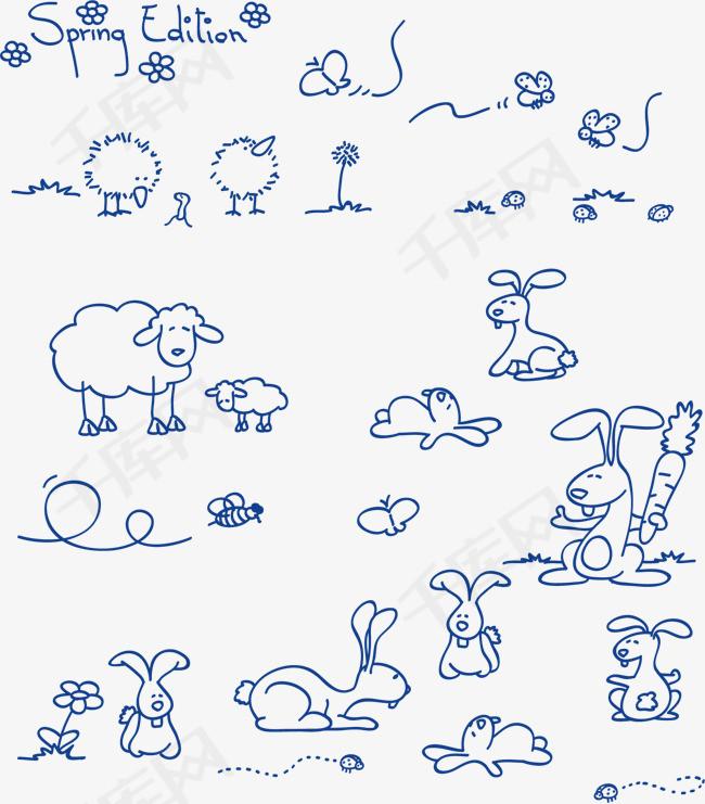 手绘卡通素材图片免费下载 高清装饰图案psd 千库网 图片编号2190781