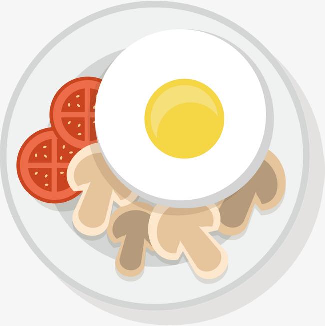 矢量彩色手绘鸡蛋早餐