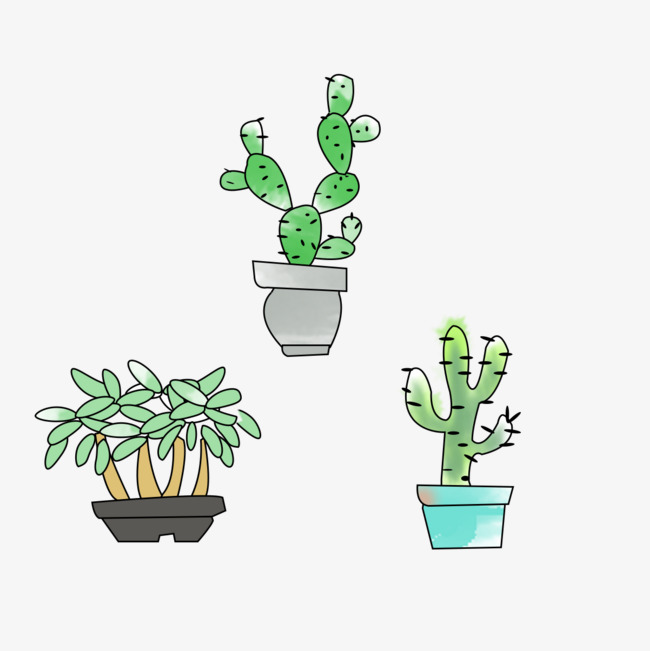 卡通手绘仙人掌盆栽