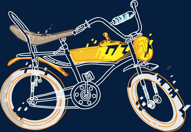 精致手绘自行车素材图片免费下载_高清psd_千库网