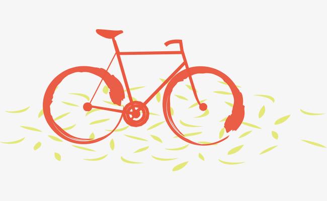 矢量手绘红色自行车