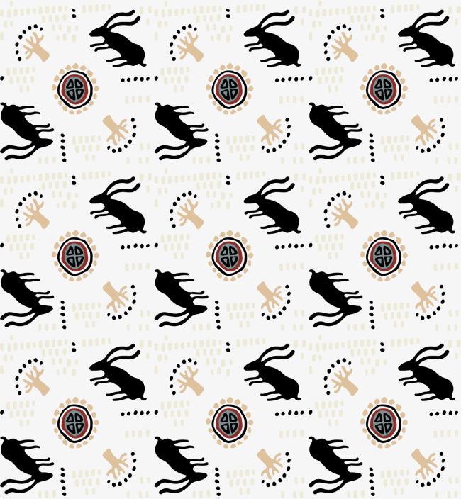 矢量手绘黑白小鹿