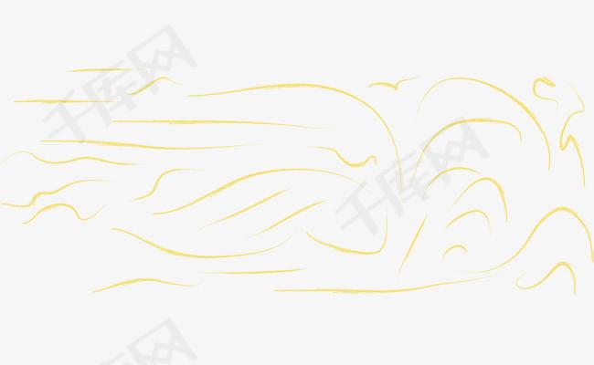 手绘涂鸦风黄色曲线