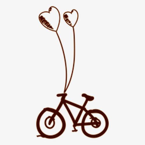 气球自行车简笔画