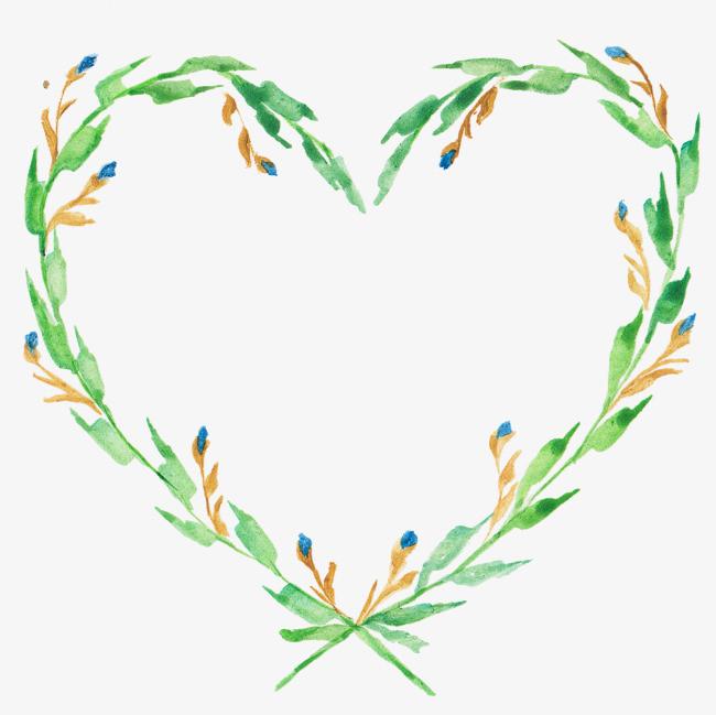 绿色手绘爱心png素材-90设计