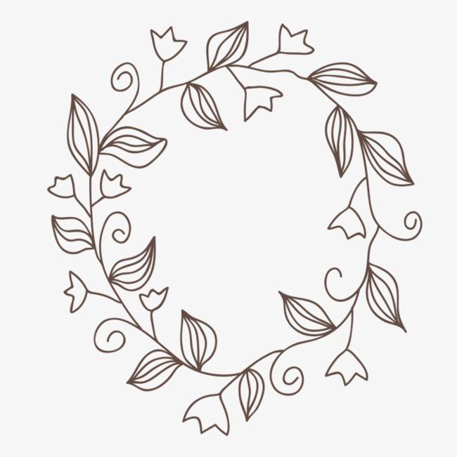 手绘画 花环 植物 矢量图 装饰 矢量装饰