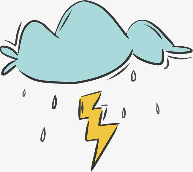 手绘打雷下雨