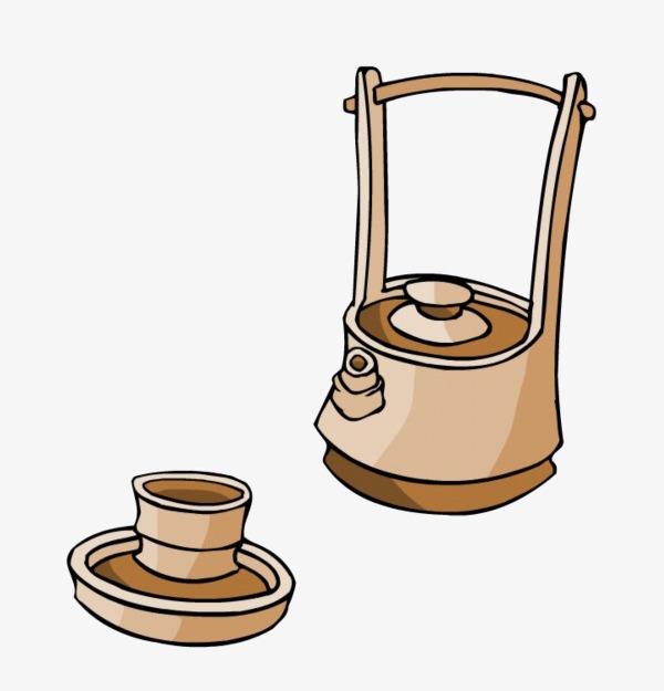 手绘古典茶壶