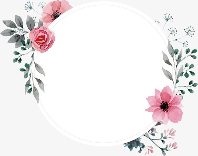 手绘水彩复古蔷薇花标签