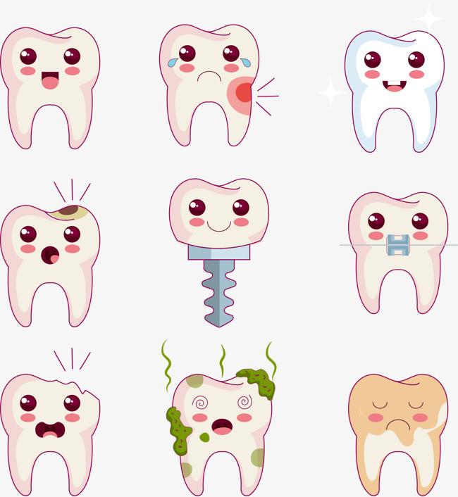 矢量可爱牙齿漫画图片
