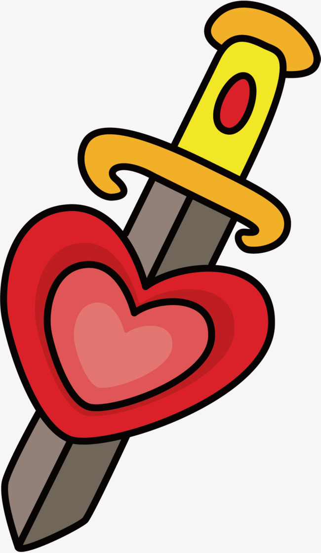 卡通红心刀子矢量图图片