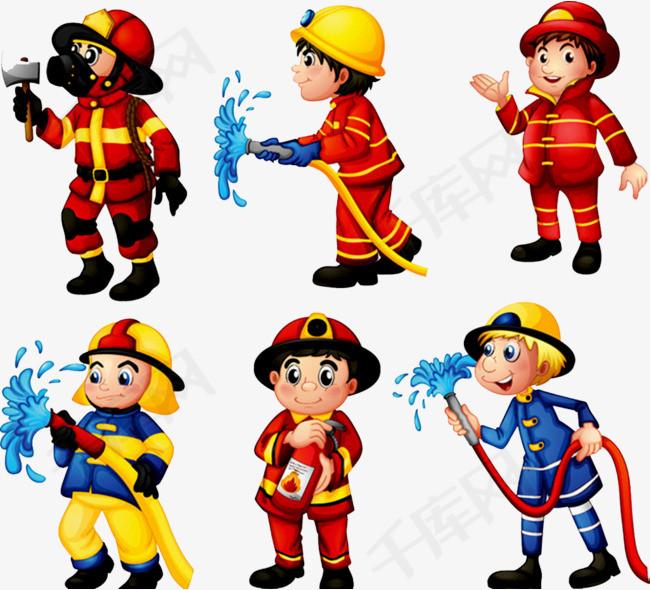 消防人物图片消防员消防人物卡通人物灭火消防栓消防知识消火栓使用