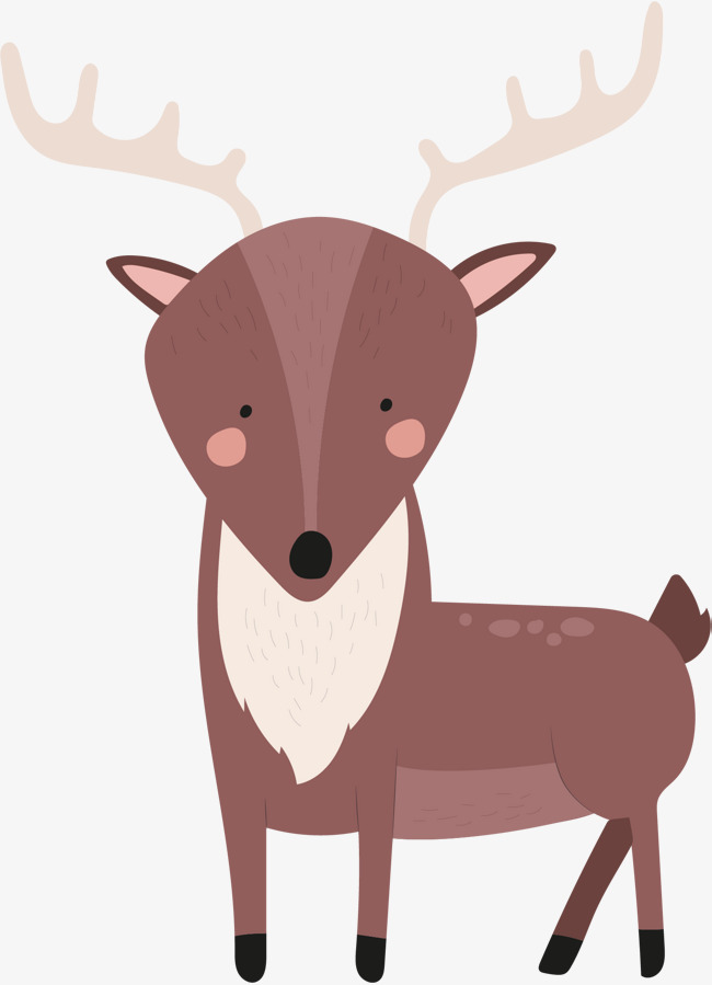 矢量手绘棕色麋鹿