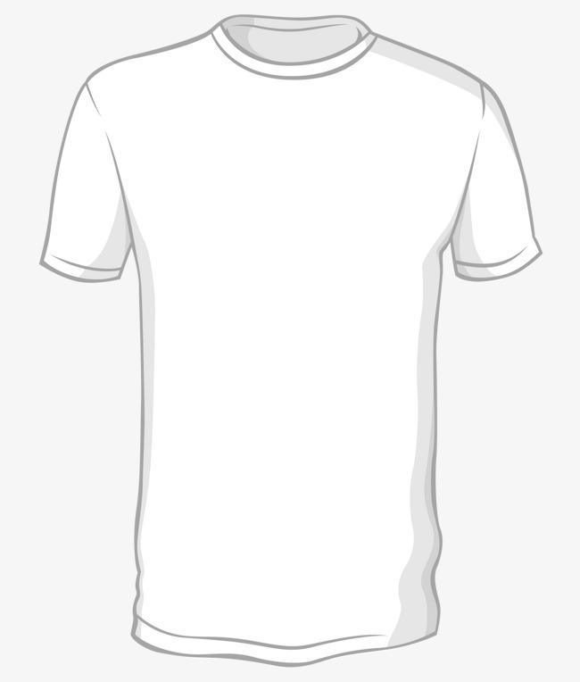 手绘纯白色t恤矢量图