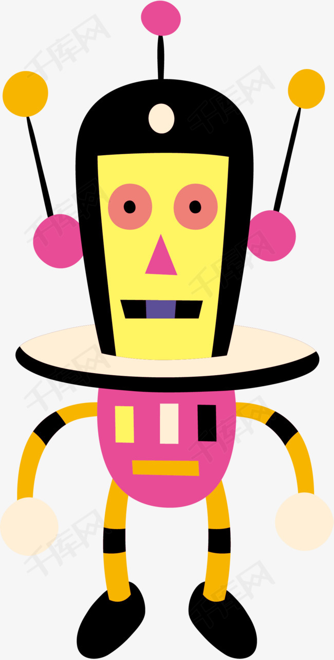 卡通机器人矢量图卡通手绘高科技机器人矢量图科学技术-卡通机器人