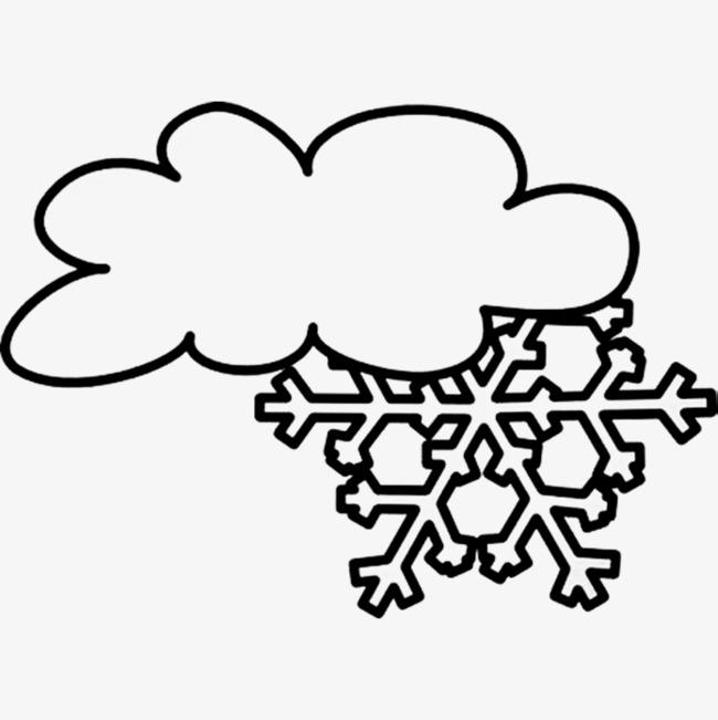 手绘卡通_手绘下雪云简笔画png素材-90设计