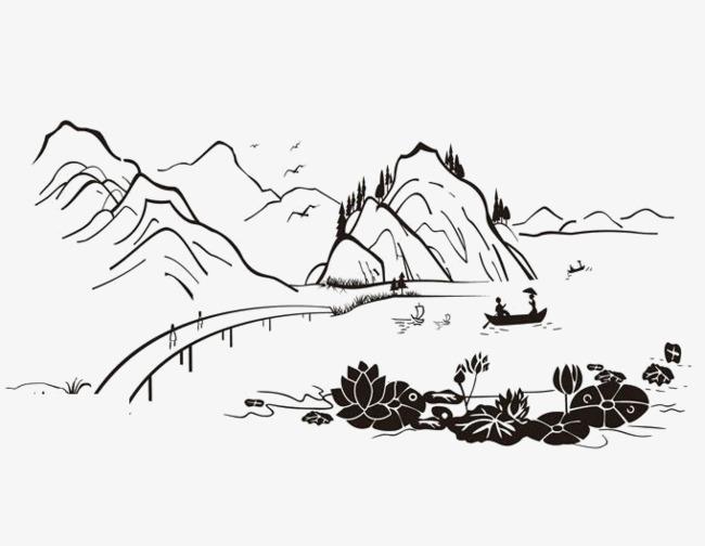 江南夏季山水简笔画