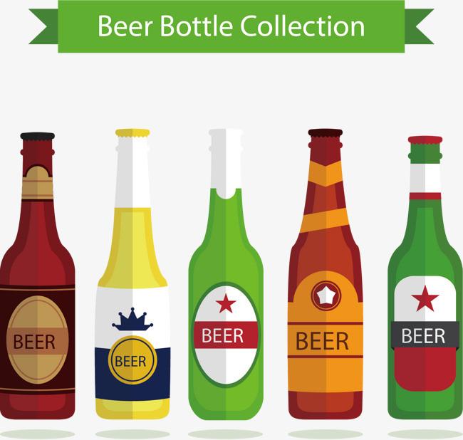 矢量手绘5个啤酒瓶png素材-90设计
