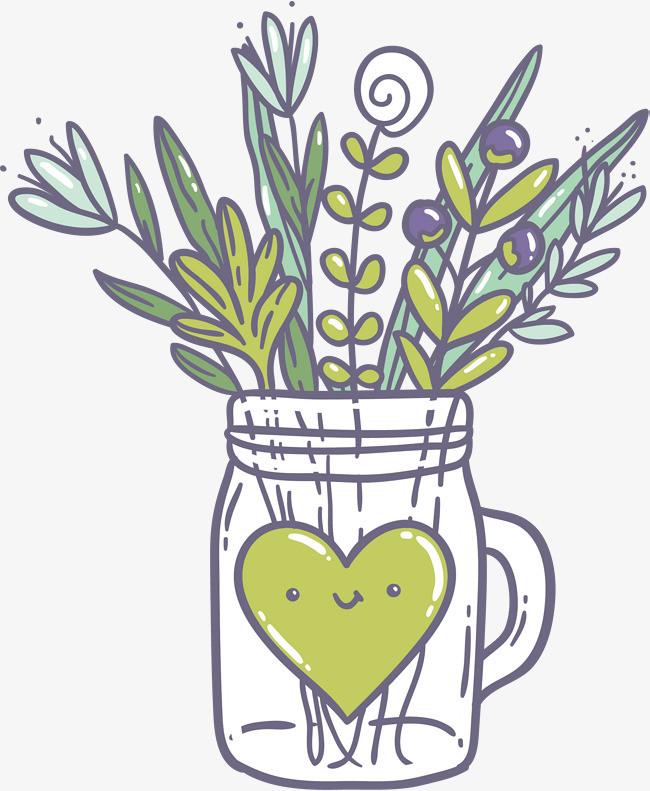 矢量手绘植物水瓶