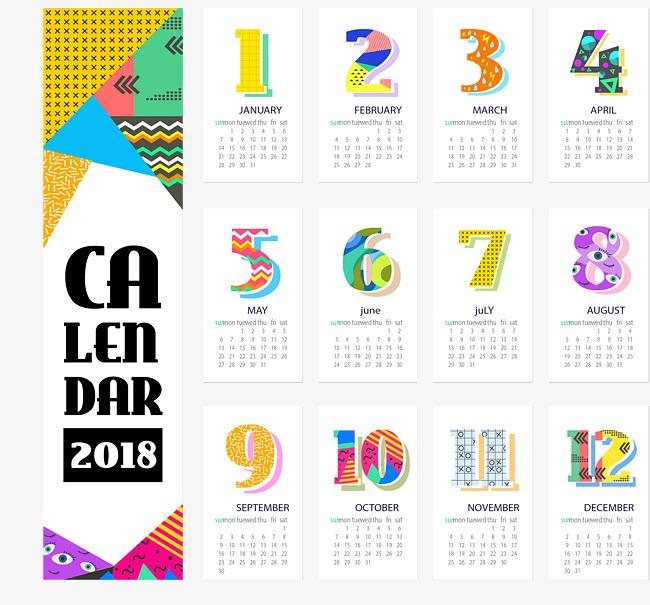 彩色抽象几何2018年日历台历素材图片免费下载 高清psd 千库网 图片编号8516623