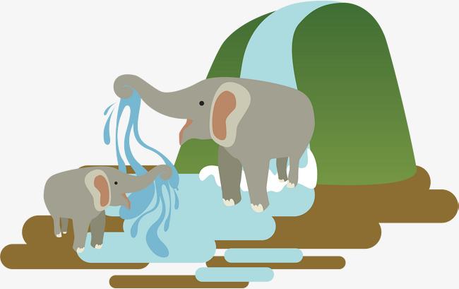大象喷水矢量图图片