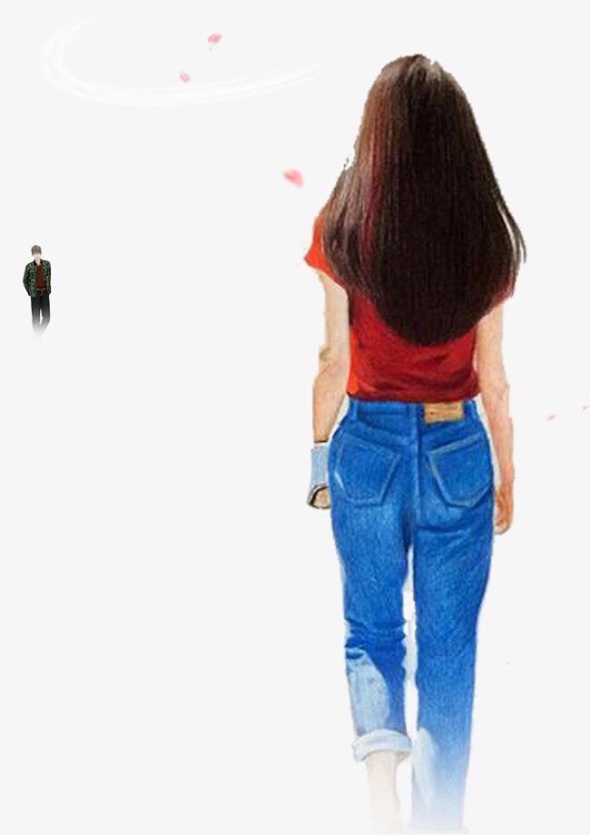 彩铅手绘女孩背影彩铅人物手绘人物女孩背影唯美浪漫遥遥相望-彩铅图片