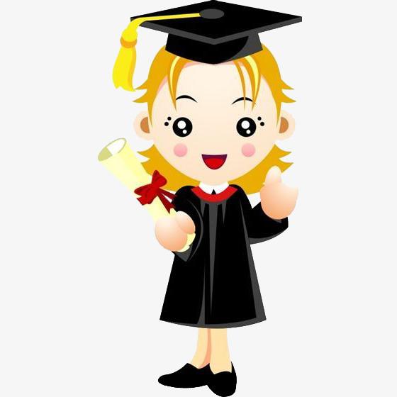 卡通穿学士服毕业的女大学生图片
