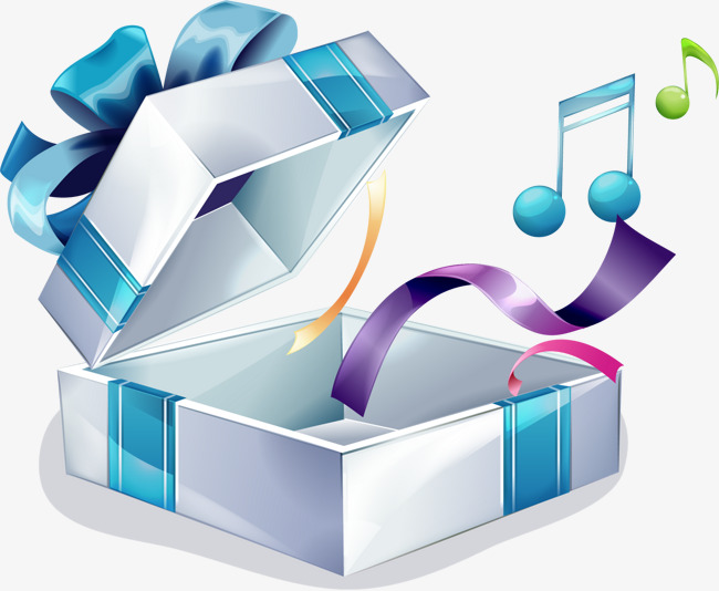 手绘蓝色礼盒紫色飘带图案