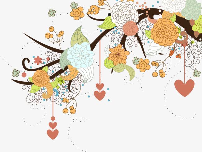 手绘花藤花朵图案