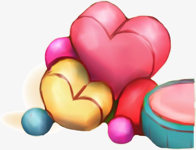 彩色手绘爱心糖果
