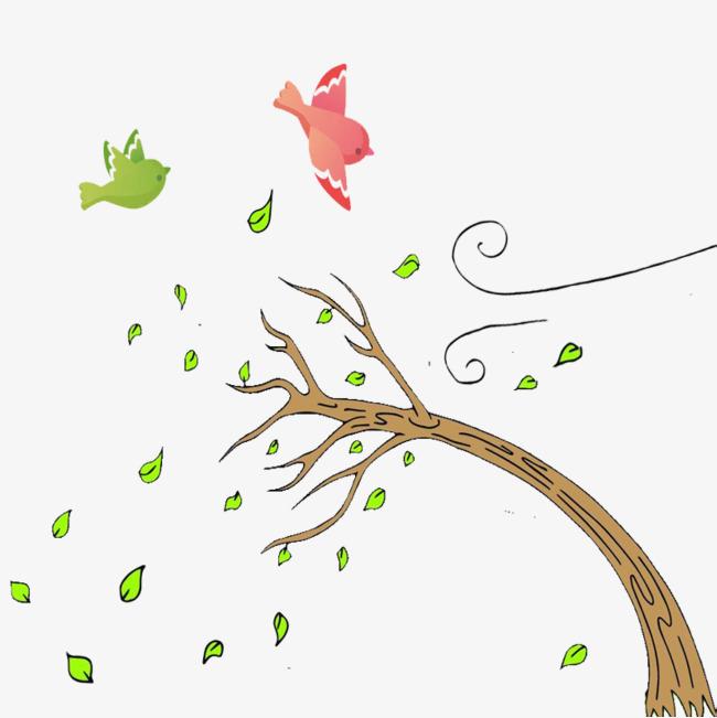 手绘风吹绿叶