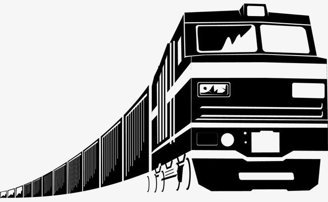 手绘黑白火车