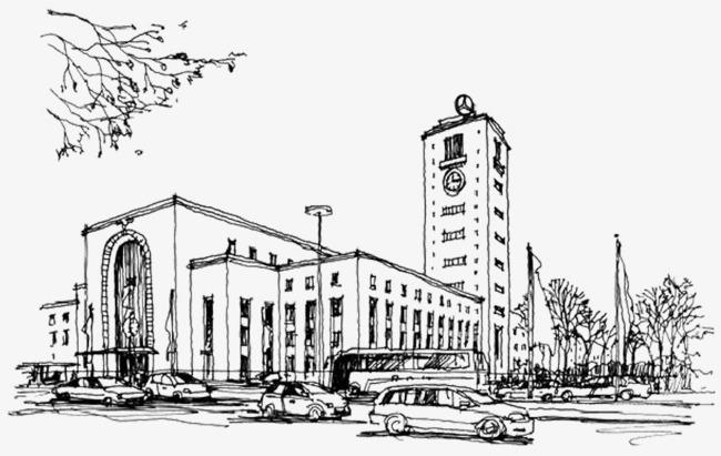 手绘建筑黑白线稿图