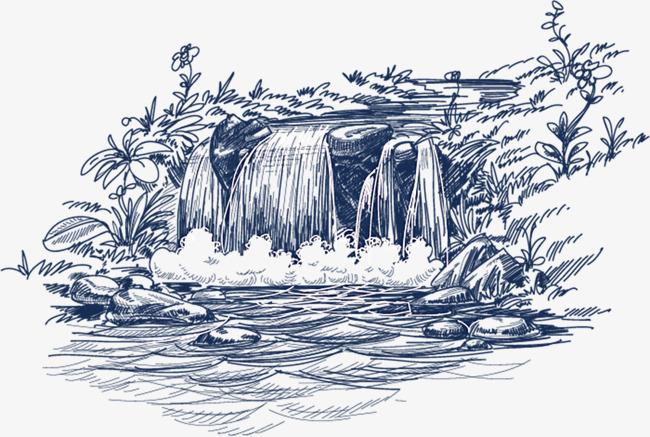 手绘瀑布图案