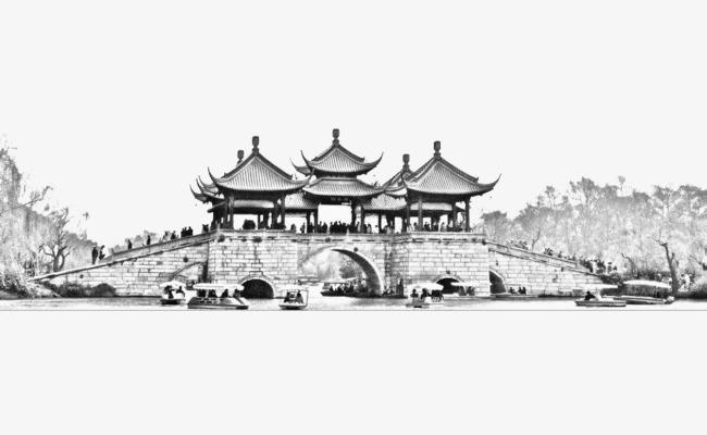 五亭桥黑白风景照png素材下载_高清图片png格式(编号