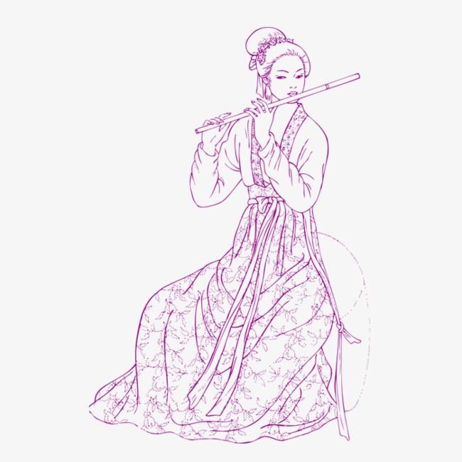 吹笛子的古装女子_png素材免费下载_ 700*700像素(:)