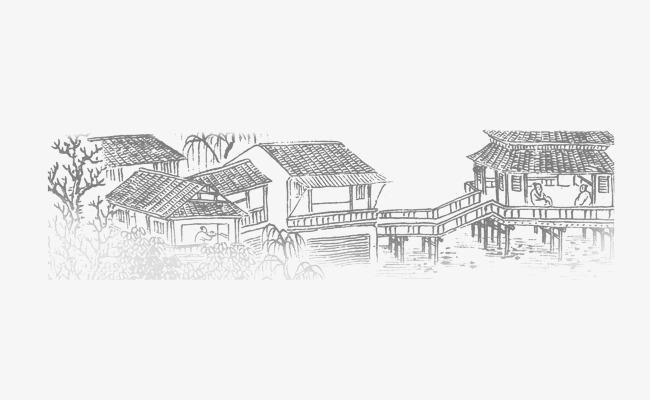 手绘江南房屋房古楼国画手绘素描水墨房子水墨古楼房子水墨中国风建