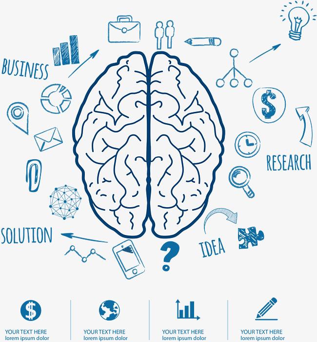 右脑功能左右脑开发智力开发卡通手绘-卡通手绘大脑智力开发素材图