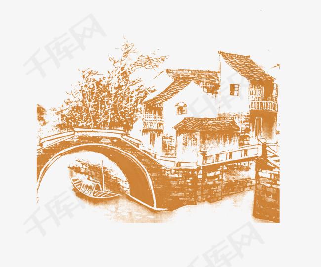 手绘江南水乡江南古楼国画手绘素描水墨房子水墨古楼房子水墨中国风