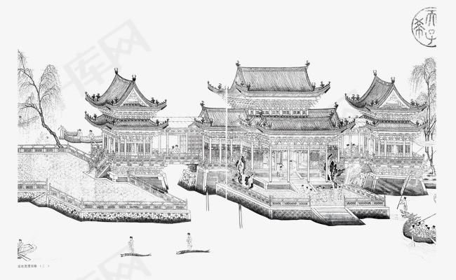 手绘古楼建筑水墨中国风水墨古楼房子建筑古楼国画手绘素描水墨房子