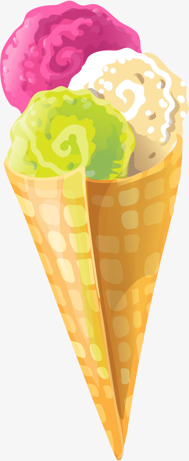 手绘彩色冰淇淋
