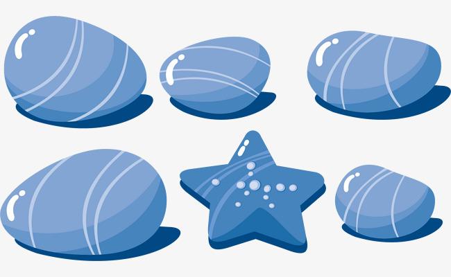 蓝色 石头星星 矢量图 装饰图案