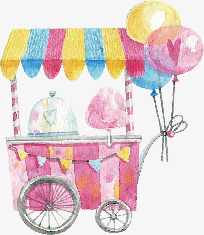水彩手绘棉花糖车