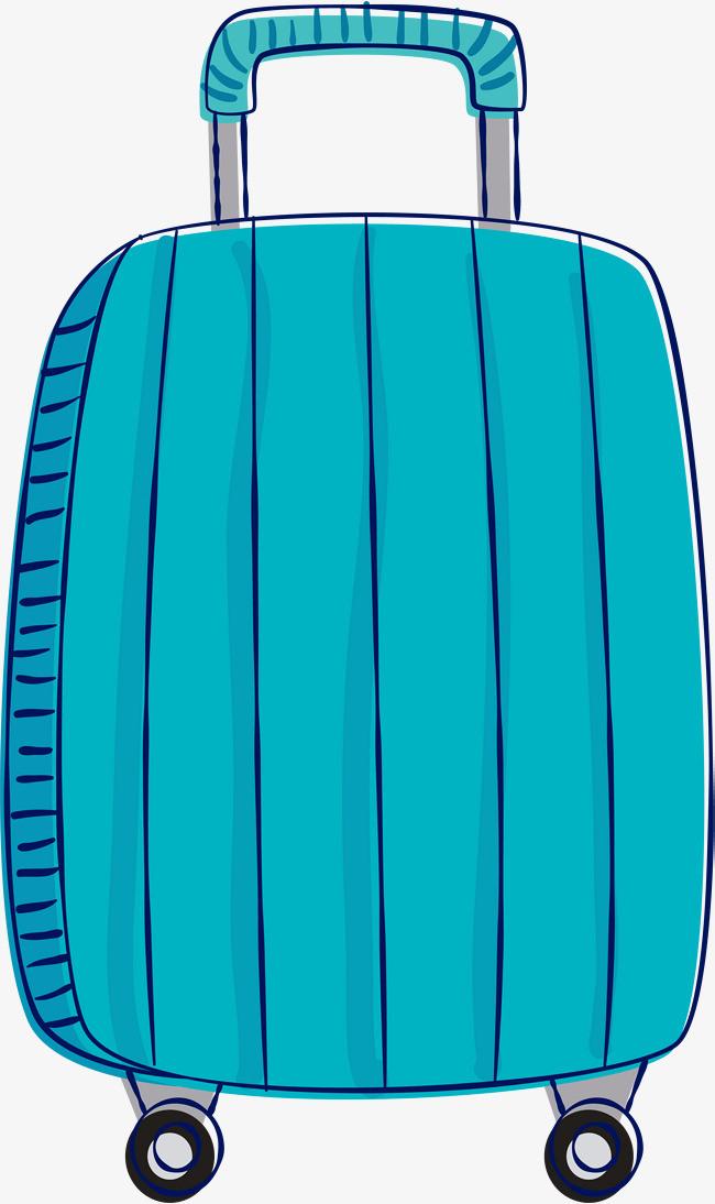 手绘涂鸦蓝色拉杆箱